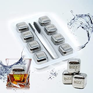 Bizz Whiskey Stones Set (8-Piece Set) Reusable Ice Cubes, Mini Tongs, Tray, Stainless Steel Cocktail Accessories, Refreezable Chilling Blocks, No More Watered-Down Taste