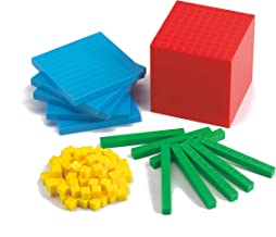 edx Education Four Color Plastic Base Ten Set - Set of 121 - Early Math Manipulative for Kids - Teach Number Concepts, Place Value and Volume