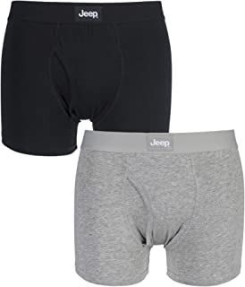Jeep Mens 2 Pack Cotton Plain Fitted Hipster Trunk Boxer Shorts