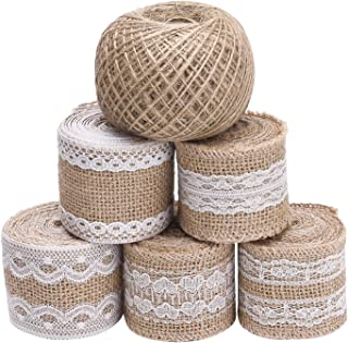 Livder 11 Yards Natural Burlap Ribbon Roll with White Lace and 109 Yard Jute Twine for DIY Home Decoration and Gift Wrap