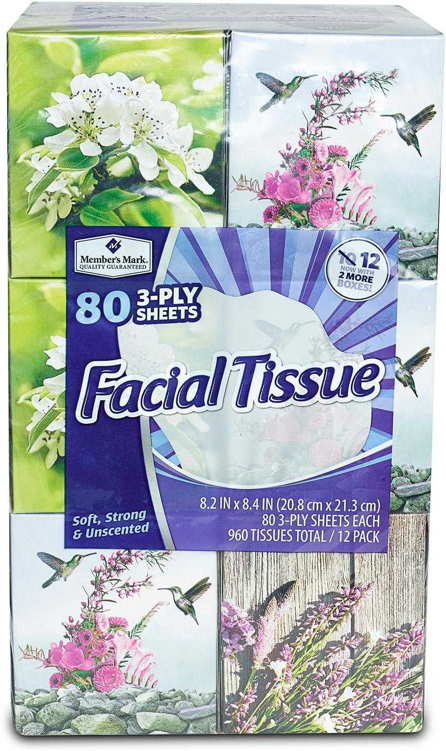 960 Tissues 12 Cube Boxes Ultra Soft Facial Tissues 80 3-Ply Tissues per Box
