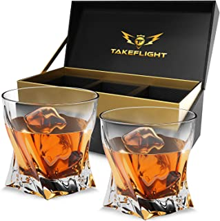 Whiskey Glass Gift Set - Comes with 2 Old Fashioned Style Whisky Glasses in Premium Display Case | Twist Style Liquor Glass for Scotch or Bourbon | Bar Accessories Gift for Men or Women Whiskey Lovers