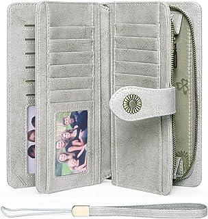 FALAN MULE Women's Wallet Genuine Leather RFID Blocking Large Capacity Trifold Ladies Wallet, BD_Grey, Large Capacity, Rfi...