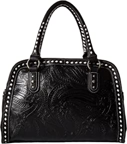 Floral Embossed Buck Stitch Dr. Bag
