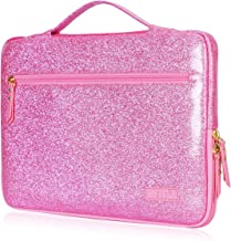 FYY Laptop Bag for 12-13.5 [Waterproof Leather] Sleeve Case for Surface Book MacBook Pro/Air 13, Briefcase Bag fits 12-13.5 Lenovo Dell Toshiba HP ASUS Acer Chromebook Notebook Ultrabook-Pink