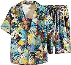 YHIIen Hawaï-outfit voor heren, hemd met broek, bloemen, korte mouwen, Hawaï-hemd, shorts, set, korte broek, kleding voor ...