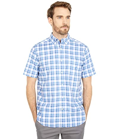 Nautica Classic Fit Plaid Poplin Shirt (Riviera Blue) Men