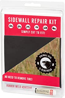 """GlueTread Sidewall Repair Kit - Patch Sidewall of Your Tire - Kit Includes (1) 4""""x4.5""""x3/16 Patch, (4) Pieces of Sandpaper..."""