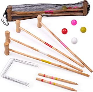 Kids Croquet Set for 4-Players   Classic Outdoor Lawn Game for Children   Great for Birthday Parties, Picnics, BBQs, and More   Comes with Mallets, Balls, Wickets, and a Carrying Bag for Portability