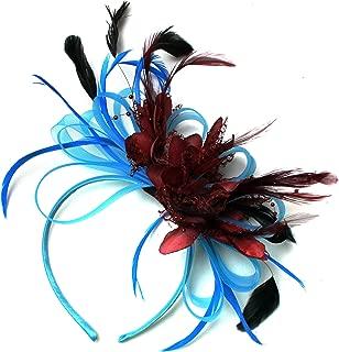 nastri e perline di colore grigio argento e bordeaux per matrimoni o corse di Ascot Cerchietto decorativo per capelli con piume