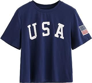 SweatyRocks Women's Letter Print Crop Tops Summer Short Sleeve T-Shirt