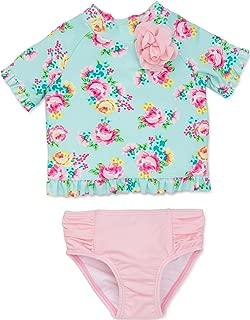 Little Me Baby Girls' UPF 50+ 2pc (Top and Bottom) Long Sleeve Rashguard Set