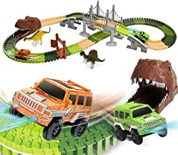 EagleStone Dinosaur Toys Race Track Set 194 PCS for Kids, Flexible Train Tracks with 2..