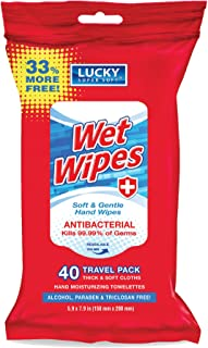 Lucky Super Soft Antibacterial Wet Wipes, 40 Count