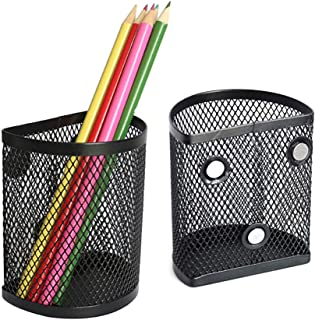 سبد ذخیره مغناطیسی سازمان دهنده قفل نگهدارنده مداد نیم دایره ، جا قلم مش آهنربا قوی برای لوازم جانبی تخته سفید و قفسه مدرسه یخچال - 2 عدد (سیاه)