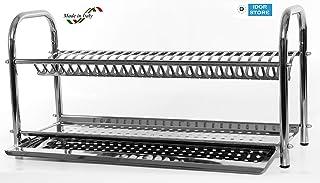 Escurreplatos de acero inoxidable con soporte, 60 cm,