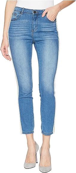Pearl Side Trim Skinny Jeans in Light Denim