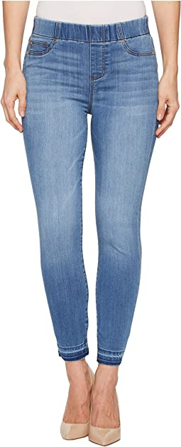Liverpool - Chloe Release Hem Pull-On Crop in Silky Soft Denim in Ridgeway Grind
