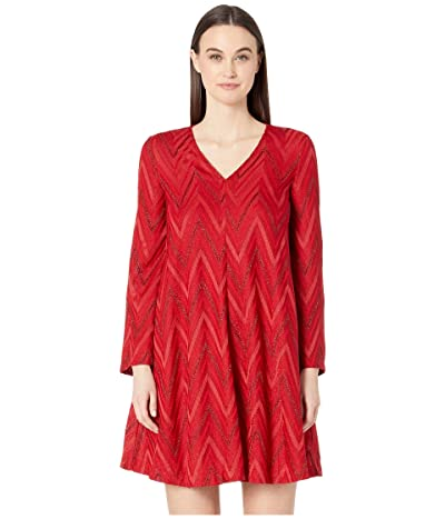 M Missoni Long Sleeve Tone On Tone Chevron Trapeze Short Dress (Rosso Chevron Lurex) Women