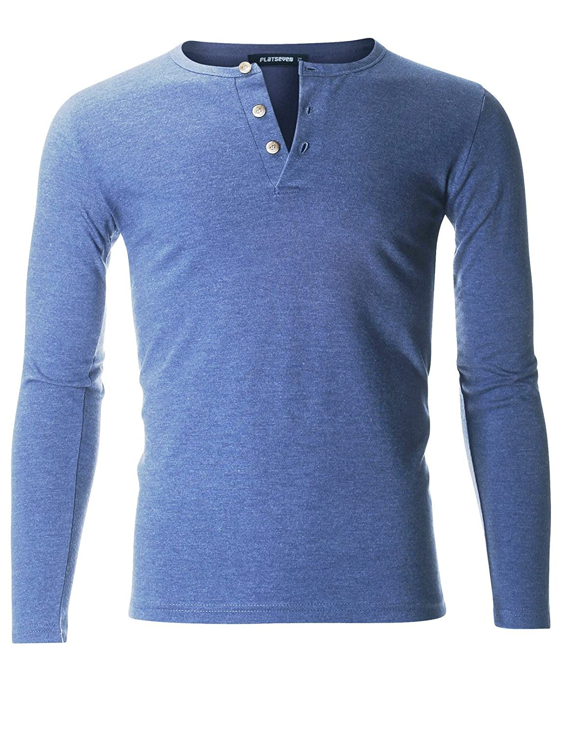 FLATSEVEN Men's Casual Henley Shirt with Button