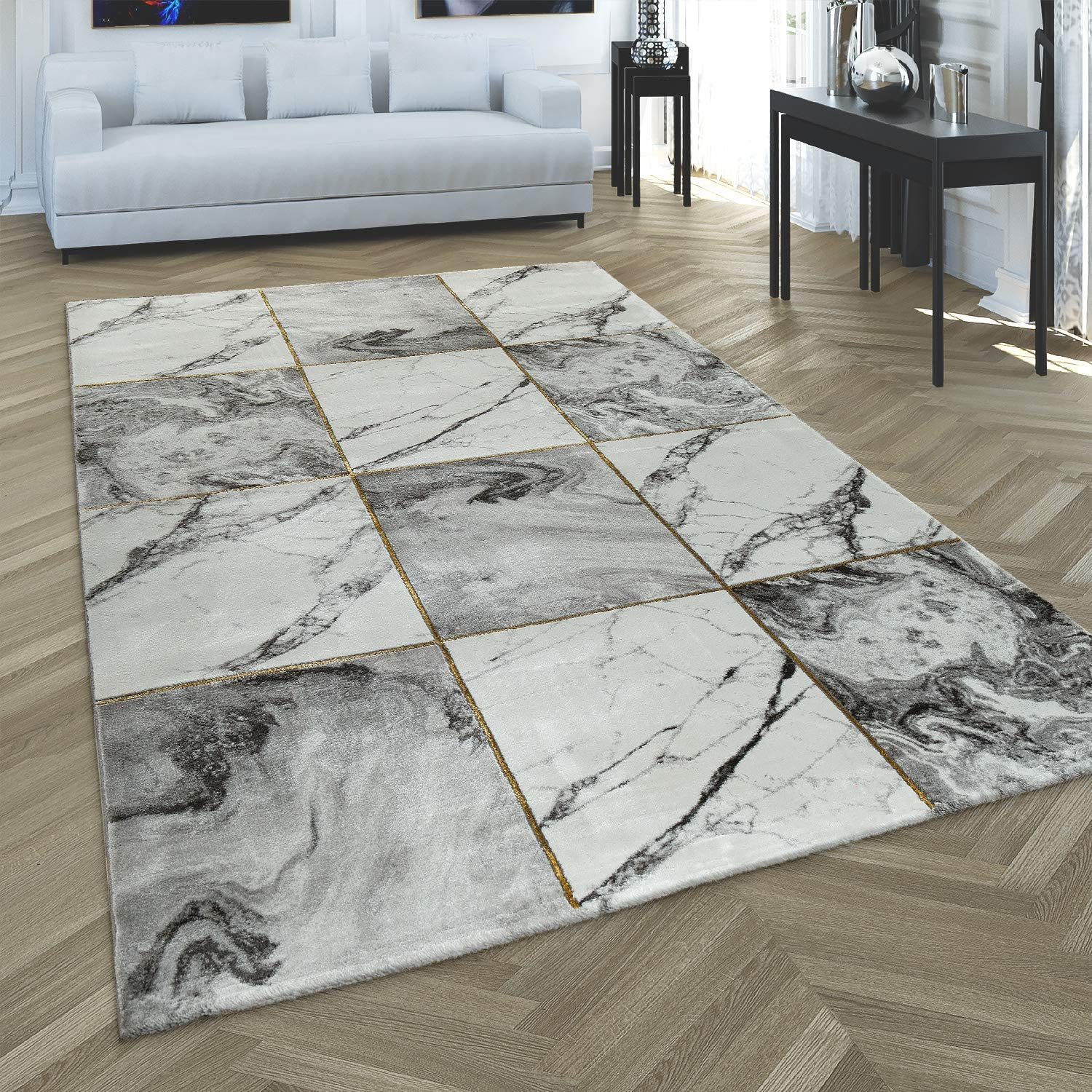 specialty shop Paco Home 2021 Living Room Rug Grey Marble Gold Soft Pattern Diamonds
