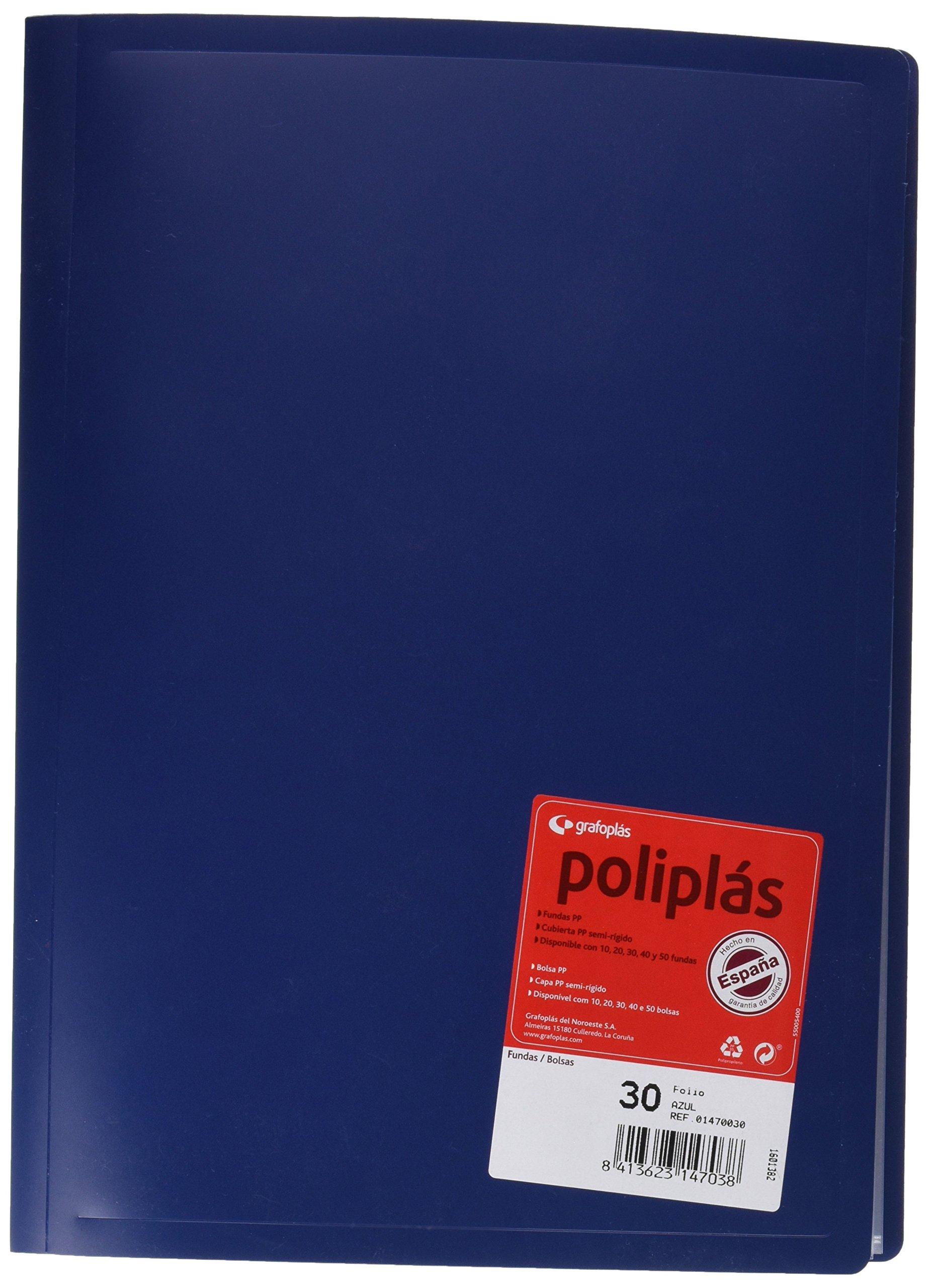 Grafoplas 1155800 - Carpeta de 30 fundas, color azul: Amazon.es: Oficina y papelería