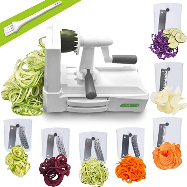 Spiralizer Ultimate 7 Strongest And Heaviest Duty Vegetable Slicer Best Veggie Pasta Spaghetti Maker For Keto Paleo Gluten Free With Extra Blade Caddy 4 Recipe Ebook White