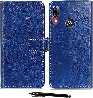 Moto E6 Plus Case, MELOP Retro PU Leather Wallet Magnet Flip Case Cover Kickstand Design with Credit ID Cards Slots Cash Pocket for Motorola Moto E6Plus - Blue