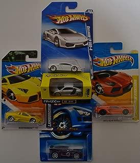 RMZ City Audi R8 V10 & Hot Wheels Lamborghini Gallardo LP 560-4; '11 Nightburnerz; '12 Aventador & Lotus Sport Elise Cars Bundle 1:64 Scale Collectible Die Cast Model Cars