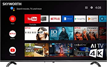 Skyworth 50 Inch Ultra 4K HDR Smart TV, Support – Chromecast - Alexa Echo - Google Home, Android TV - Q20300