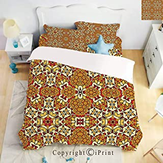 Hight Quality 4 Piece Bed Sheet Set,Geometric Unusual Motifs India Decor Folkloric Art Elements Concentric,Red Orange Pink,King Size
