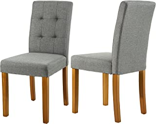 LSSBOUGHT Upholstered Dining Chair Parson Dining Chair with Solid Wood Legs, Set of 2 (Gray)