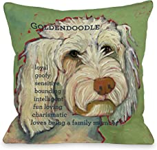 One Bella Casa Golden Doodle 1 Throw Pillow, 16 by 16-Inch