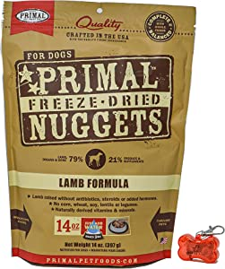 Primal Pet Food - Freeze Dried Lamb Nuggets Dog Food 14oz Bag with WoWing Pets Pendant