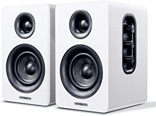 "Sanyun SW208 3"" Active Bluetooth Bookshelf Speakers - 60W Carbon Fiber Speaker Unit - aptX Codec - Built-in 24 bit DAC - D..."