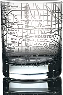 Greenline Goods Whiskey Glasses - 10 Oz Tumbler for Houston Lovers (Single Glass) | Etched with Houston Map | Old Fashioned Rocks Glass