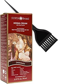 Surya Brasil All Natural HENNA Hair Color CREAM Plant Extracts, Semi-Permanent for Grey Coverage (with Brush) Brazil (CHOC...