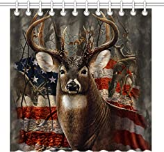 American Soldiers And  Army Dog ON Flags Shower Curtain Set Bathroom Fabric 71In