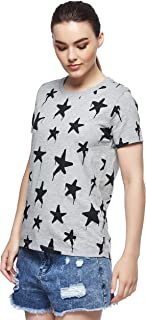 Converse Graffiti Star Crew T-Shirt For Women, Size Small CHARCOAL/RED