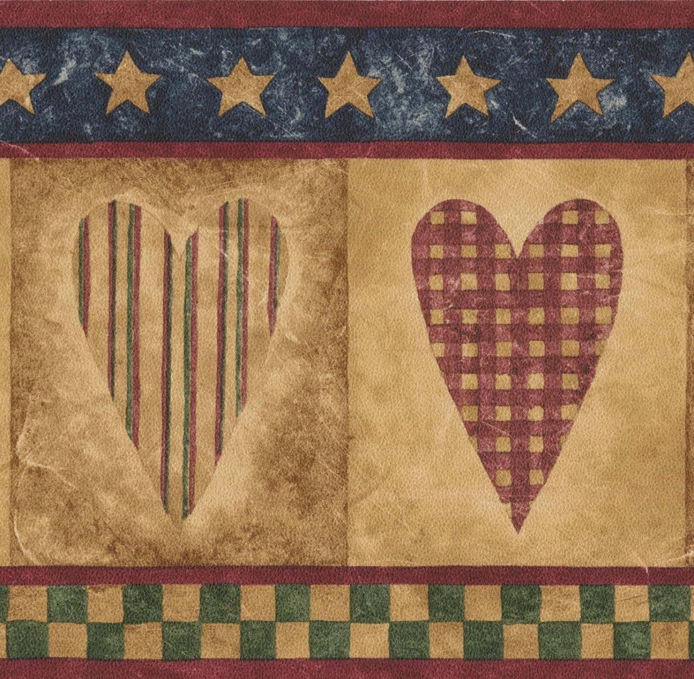 Vintage Checkered Striped Hearts Design Retro Luxury Columbus Mall goods Wallpaper Border