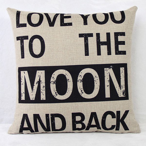 Simple Letter Printed Square Composite Linen Blend Pillow Case, WHITE/BLACK in Decorative Pillows & Shams | DressLily.com