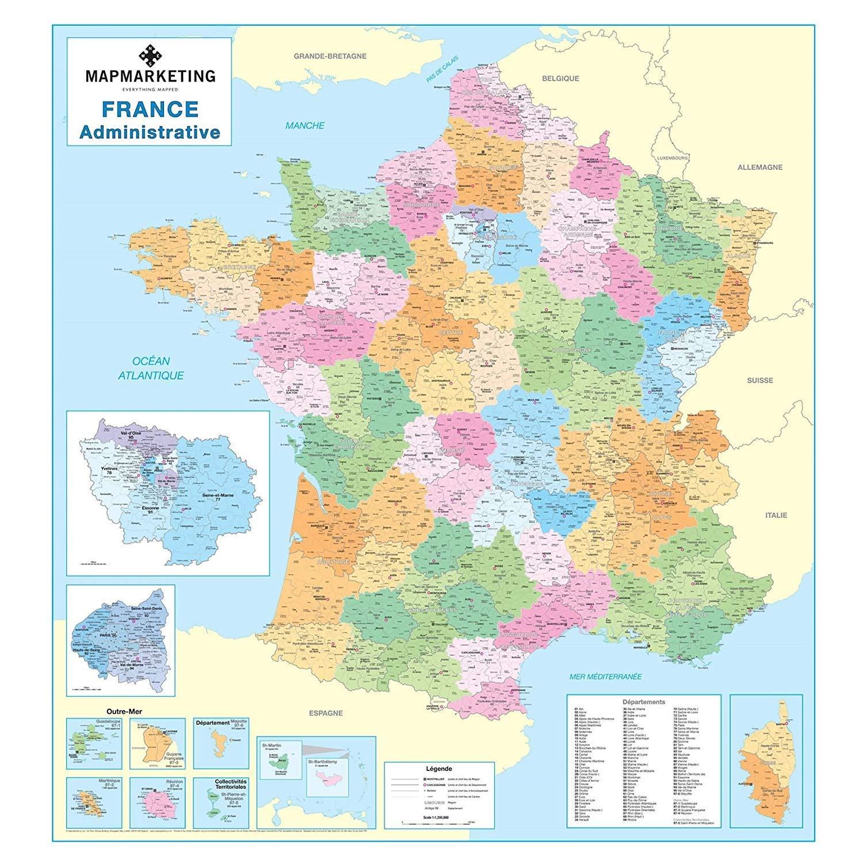 Mapa administrativo francés – Mapa político laminado de pared de ...