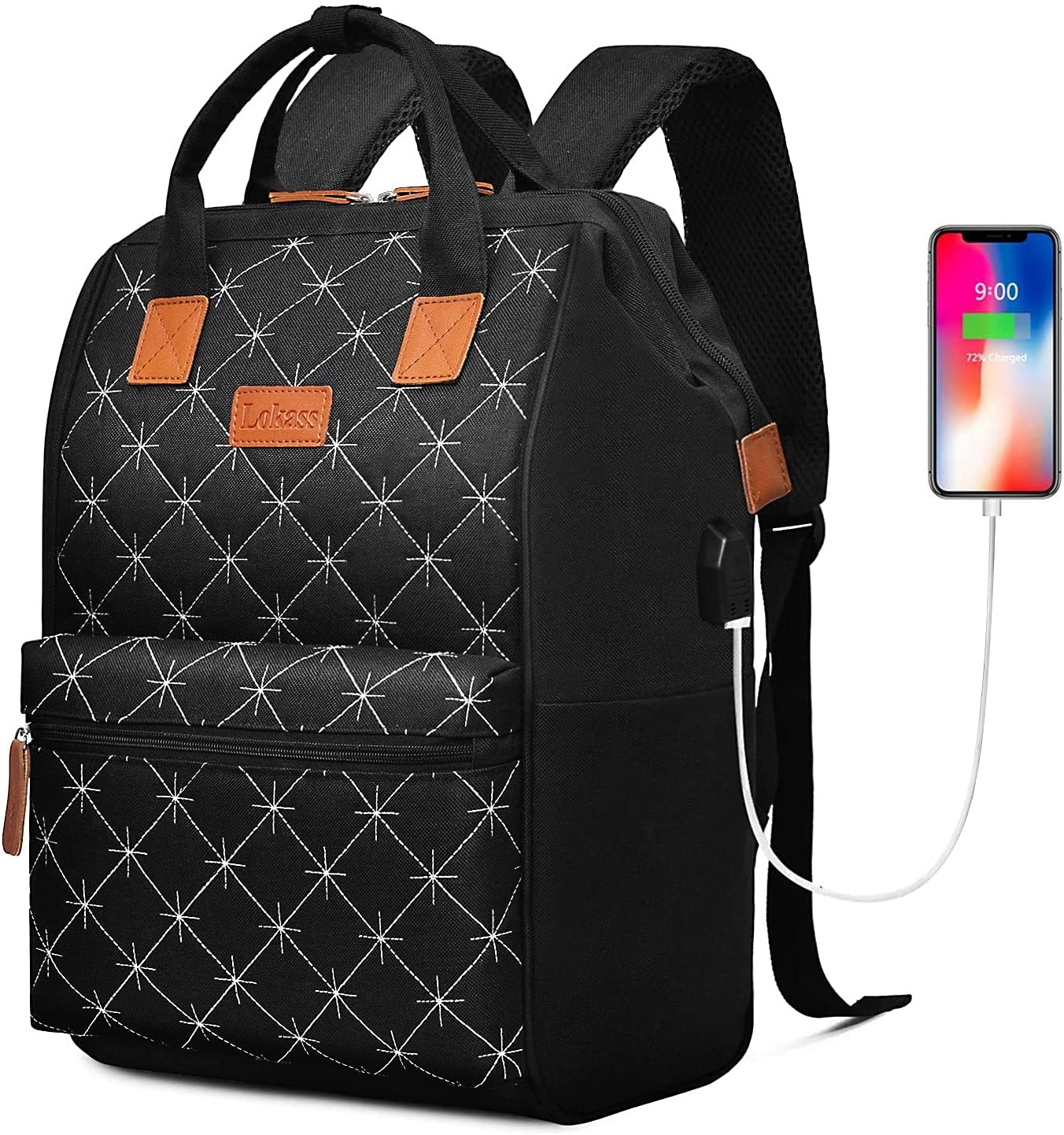 BRINCH Laptop Backpack 15.6 Inch Wide Open Computer Laptop Bag College Rucksack Water Resistant Business Travel Backpack Multipurpose Casual Daypack with USB Charging Port for Women Men,Black-Diamond