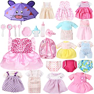 OUFOTAT 25 Pcs Girl Doll Clothes Dress Fits 12 13 14 15 Inch Bitty Alive Baby Doll Clothes and Accessories - Including Clo...