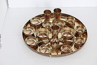 Indian handmade 100% Pure Bronze 21 PCs Complete Maharaja Thali Set 2 Plate With 12 Bowls 3 Spoon 1 Knief & 3 Glass Kansa Dinnerware Set CAD-01