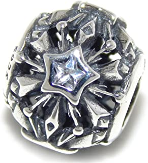 ICYROSE Solid 925 Sterling Silver Shooting Star w/White CZ Barrel Charm Bead 582 for European Snake Chain Bracelets