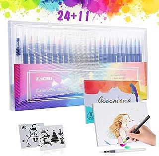 Zacro 24 Colores Rotuladores Pinceles Acuarelables,Pluma de Pinceles,1 Pincel de Agua,2 Plantillas y 8 Pcs Papeles de Dibu...