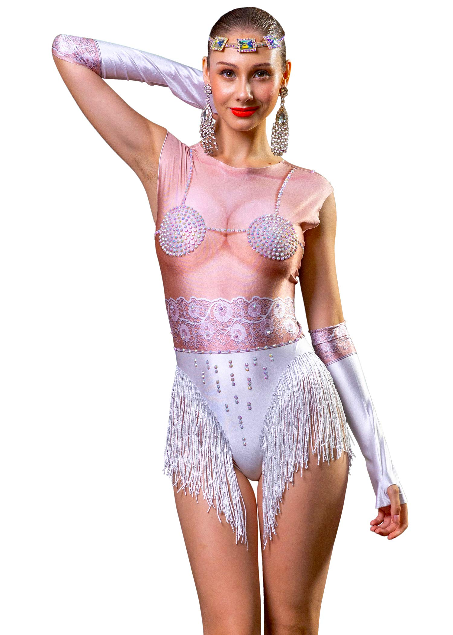 Available at Amazon: Charismatico White Burlesque Sexy Fringe Bodysuit with Breast Illusion