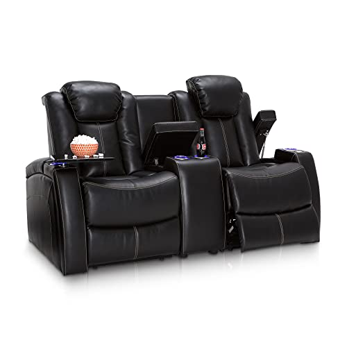 Seatcraft 162E51151449-V1 Omega Leather Gel Home Theater Seating Recline Loveseat with Adjustable Powered Headrests