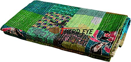 Third Eye Export Indian Queen Size Patchwork Silk Kantha Quilt 90x108 Inch Bedcover Silk Patola Quilt Throw Blanket (Green)